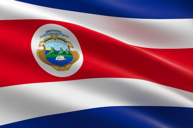 Vlag van costa rica. 3d-afbeelding van de costa ricaanse vlag zwaaien