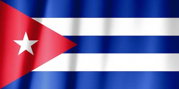 Vlag van cuba op een zijden gordijn zwaaien