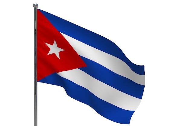 Vlag van cuba op paal. metalen vlaggenmast. nationale vlag van cuba 3d illustratie op wit