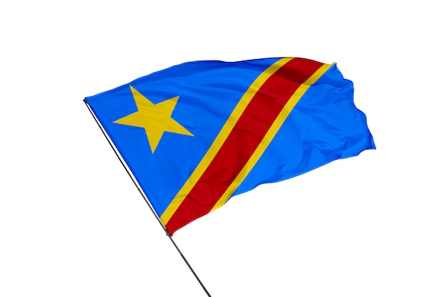 Vlag van de democratische republiek congo op een witte achtergrond