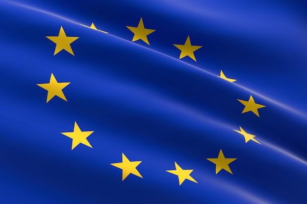 Vlag van de europese unie. 3d illustratie van het zwaaien van de eu-vlag