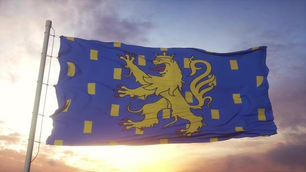 Vlag van de franche-comté, frankrijk, zwaaiend in de wind, lucht en zon achtergrond. 3d-rendering.