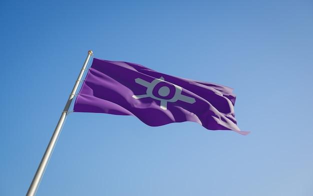 Vlag van de lage hoek van de prefectuur van tokyo japan. 3d-illustraties