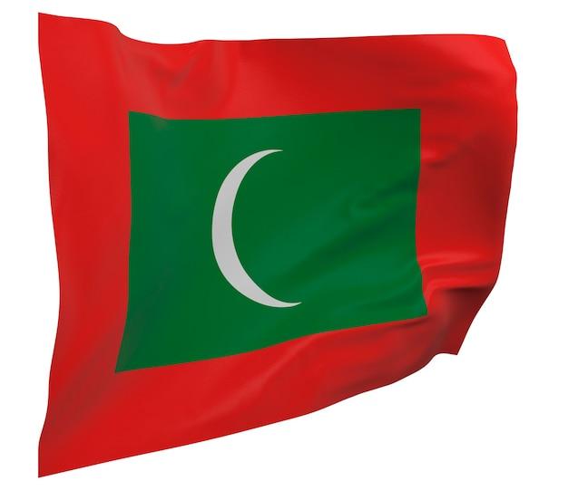 Vlag van de maldiven geïsoleerd. zwaaiende banner. nationale vlag van de maldiven