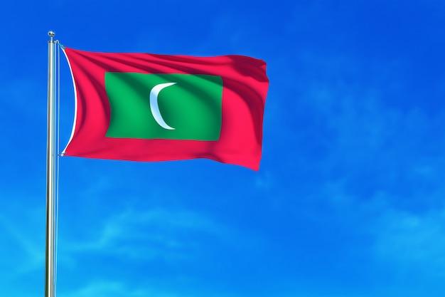 Vlag van de maldiven op de blauwe hemel achtergrond 3d-rendering
