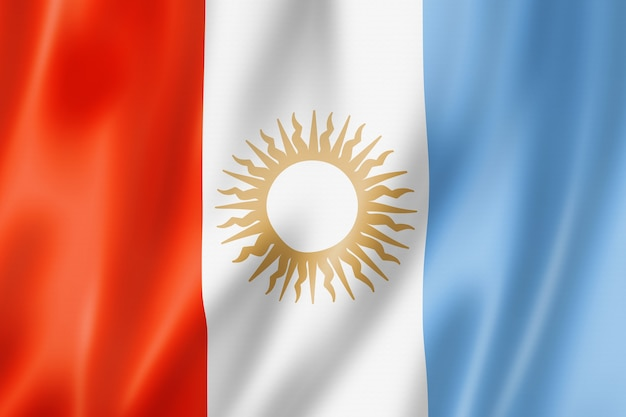 Vlag van de provincie cordoba, argentinië zwaaiende banner collectie. 3d illustratie
