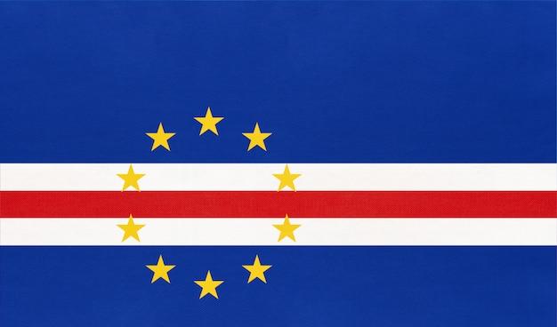 Vlag van de republiek kaapverdië nationale stof, textiel achtergrond. afrikaans land.