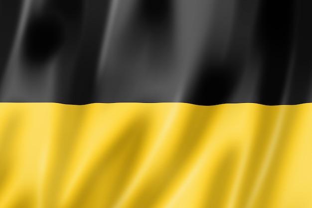 Vlag van de staat baden-württemberg, duitsland zwaaiende banner collectie. 3d illustratie