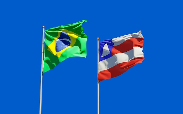 Vlag van de staat de bahia, brazilië. 3d-illustraties