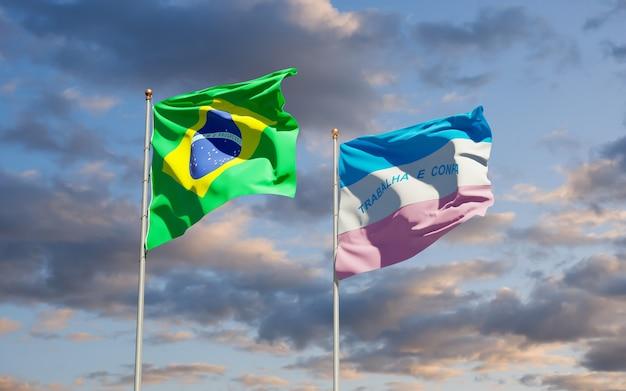 Vlag van de staat espirito santo, brazilië. 3d-illustraties