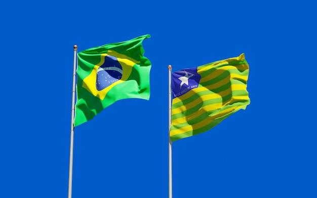 Vlag van de staat piaui, brazilië. 3d-illustraties