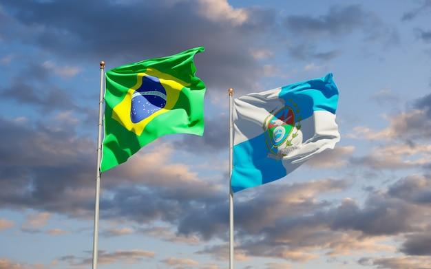 Vlag van de staat rio de janeiro, brazilië. 3d-illustraties