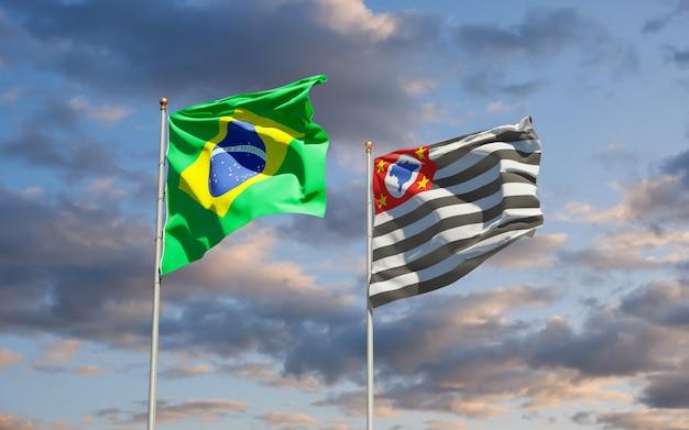 Vlag van de staat sao paulo, brazilië. 3d-illustraties