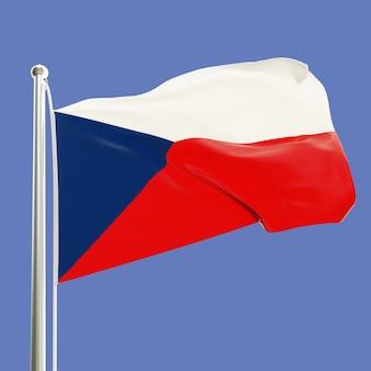 Vlag van de tsjechische republiek op vlaggenmast zwaaien in de wind geïsoleerd op blauwe hemelachtergrond