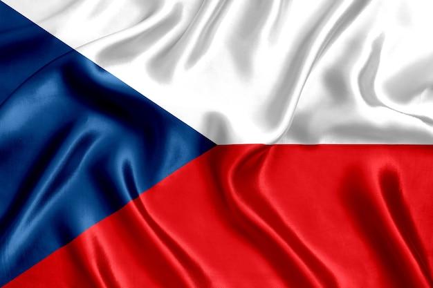 Vlag van de tsjechische republiek zijde close-up achtergrond