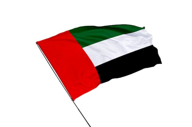 Vlag van de verenigde arabische emiraten op een witte achtergrond
