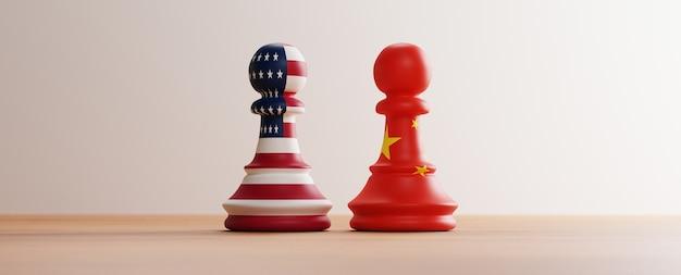 Vlag van de vs en china vlag print scherm op pion schaken op schaakbord voor concurrentie van zakelijke handelsoorlog en militair tussen beide landen. 3d render