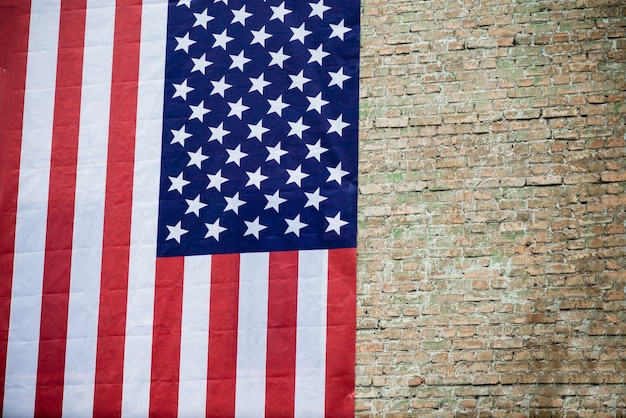 Vlag van de vs op bakstenen muur textuur