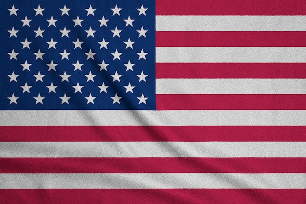 Vlag van de vs op geweven stof. patriottisch symbool