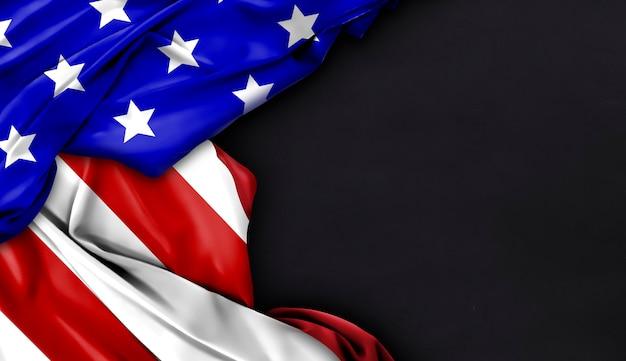 Vlag van de vs op zwarte achtergrond