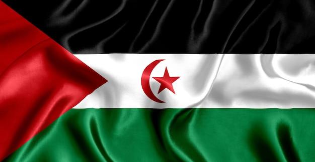 Vlag van de zijdeclose-up van de sahrawi arabische democratische republiek