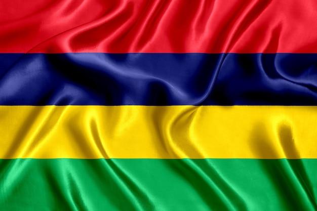Vlag van de zijdeclose-up van mauritius