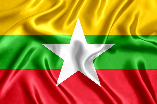 Vlag van de zijdeclose-up van myanmar