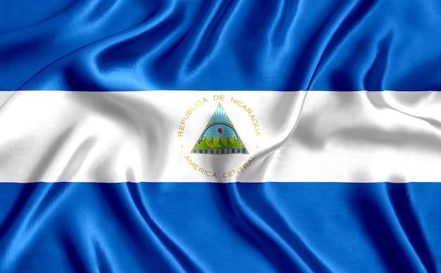 Vlag van de zijdeclose-up van nicaragua