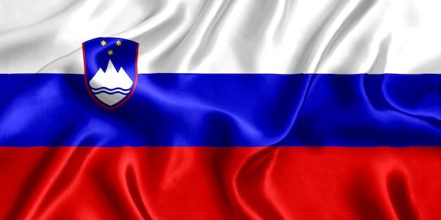 Vlag van de zijdeclose-up van slovenië