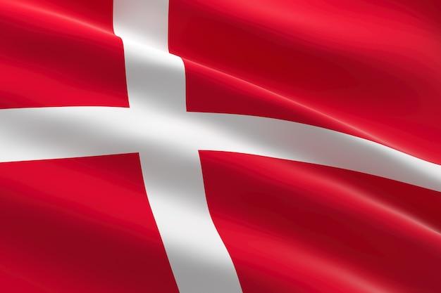 Vlag van denemarken. 3d-afbeelding van de deense vlag zwaaien