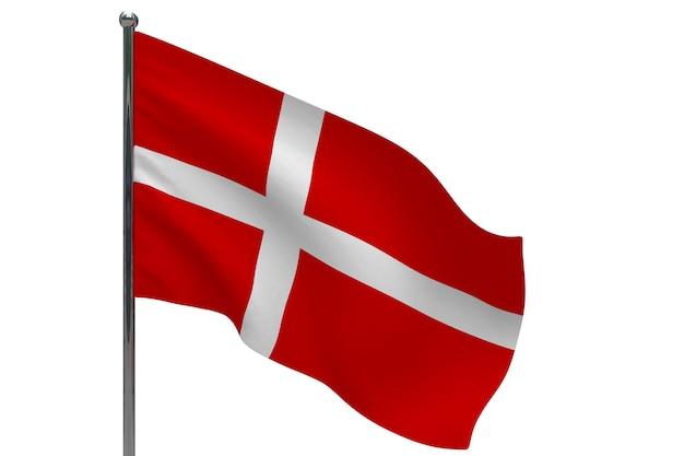 Vlag van denemarken op paal. metalen vlaggenmast. nationale vlag van denemarken 3d illustratie op wit