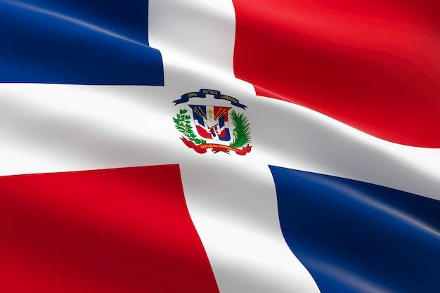 Vlag van dominicaanse republiek. 3d-afbeelding van de dominicaanse vlag zwaaien