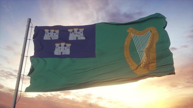 Vlag van dublin, hoofdstad van ierland zwaaien in de wind, lucht en zon achtergrond. 3d-rendering.
