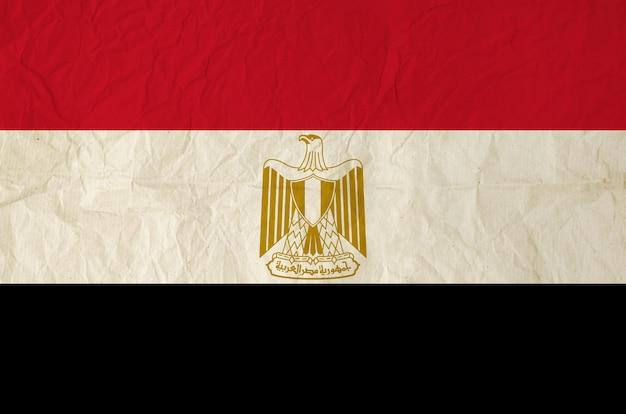 Vlag van egypte met oude vintage papier textuur achtergrond