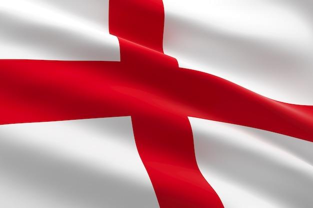 Vlag van engeland. 3d-afbeelding van de engelse vlag zwaaien