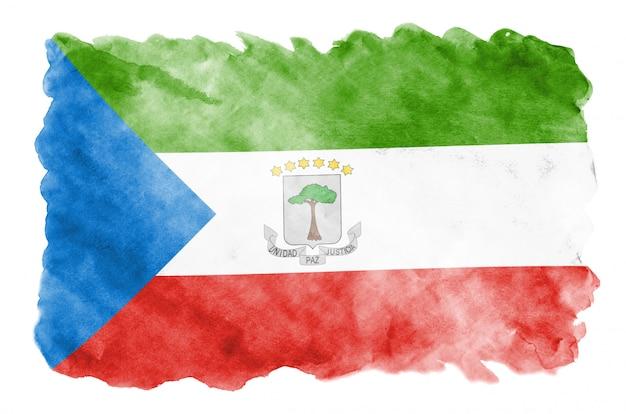 Vlag van equatoriaal-guinea wordt afgebeeld in vloeibare aquarelstijl geïsoleerd op wit