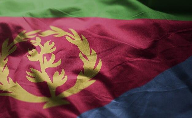 Vlag van eritrea verkreukelde close-up