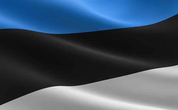 Vlag van estland. 3d-afbeelding van de estlandse vlag golven.