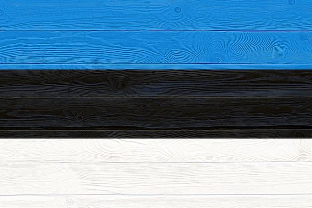 Vlag van estland geschilderd op oude houten plank achtergrond