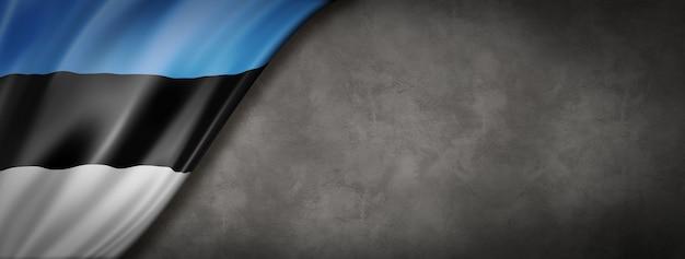 Vlag van estland op betonnen wand. horizontale panoramische banner. 3d-afbeelding