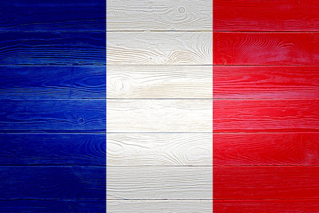 Vlag van frankrijk geschilderd op houten planken