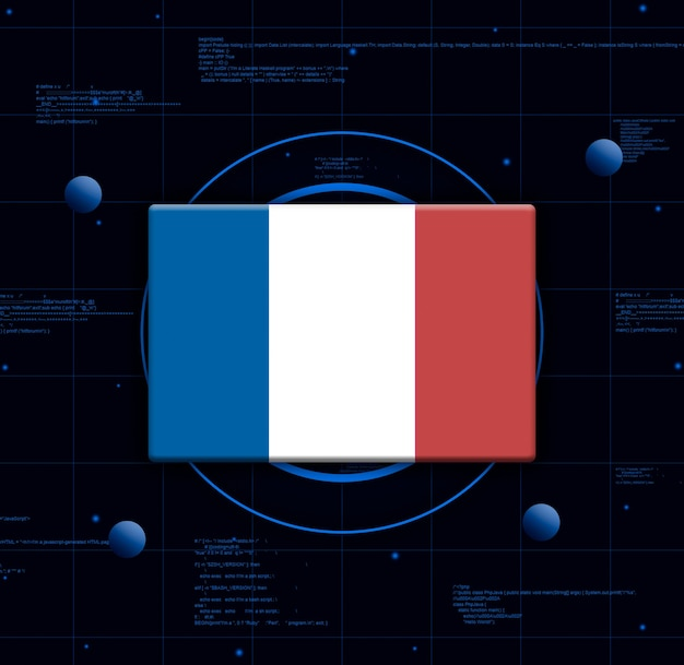 Vlag van frankrijk met realistische technologie-elementen, 3d-rendering