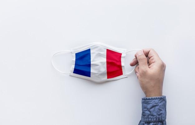 Vlag van frankrijk op masker bovenaanzicht