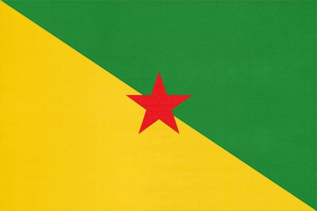 Vlag van frans-guyana nationale stof, textiel achtergrond. symbool van het land van de internationale wereld amerika.