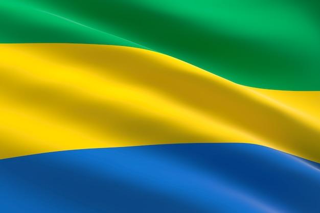 Vlag van gabon. 3d-afbeelding van de gabonese vlag zwaaien