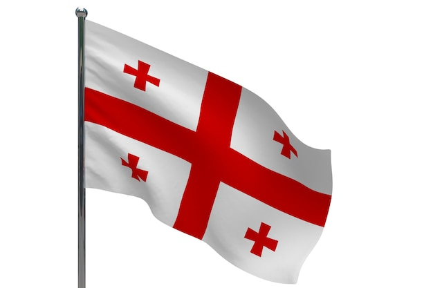 Vlag van georgië op paal. metalen vlaggenmast. nationale vlag van georgië 3d illustratie op wit