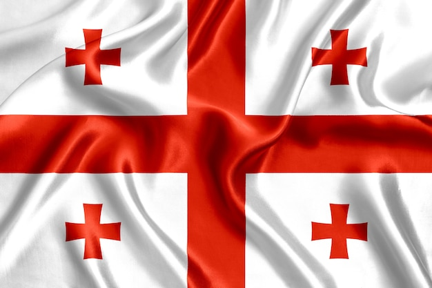 Vlag van georgië zijde close-up achtergrond