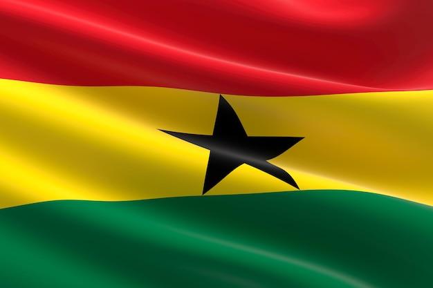 Vlag van ghana. 3d-afbeelding van de ghanese vlag zwaaien.