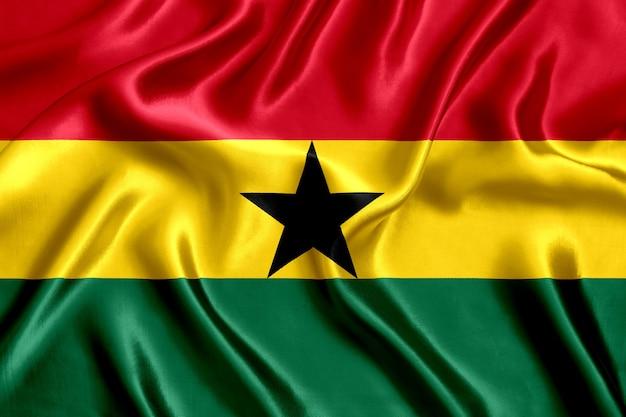 Vlag van ghana zijde close-up achtergrond