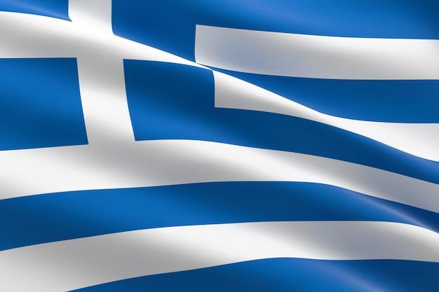 Vlag van griekenland. 3d-afbeelding van de griekse vlag zwaaien
